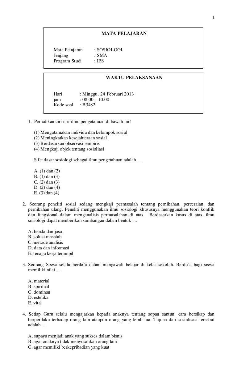 Prediksi Soal Un Sosiologi Kode B Tahun 2013
