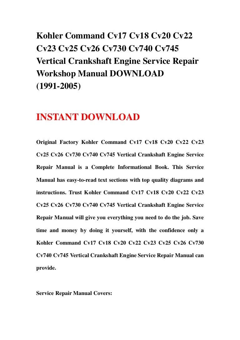 Kohler Command Cv17 Cv18 Cv20 Cv22 Cv23 Cv25 Cv26 Cv730 Cv740 Cv745 V Engine Electrical Diagram Economy