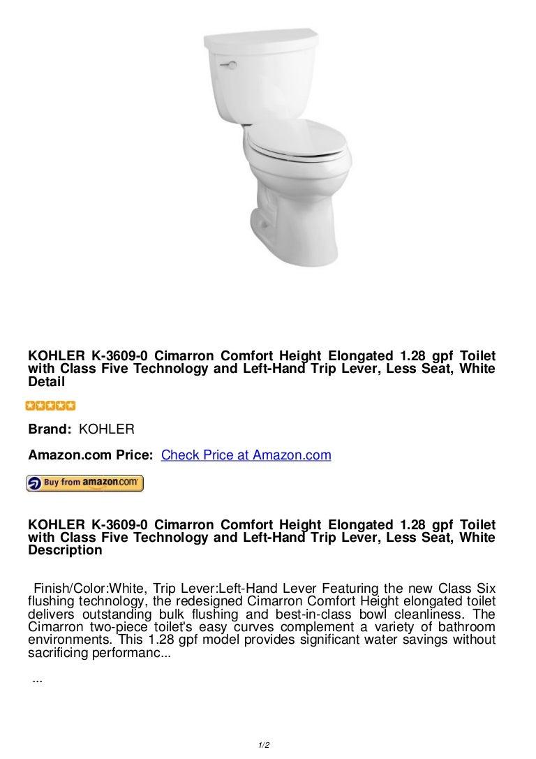 Kohler K 3609 0 Cimarron Comfort Height Elongated 1 28 Gpf Toilet Wit