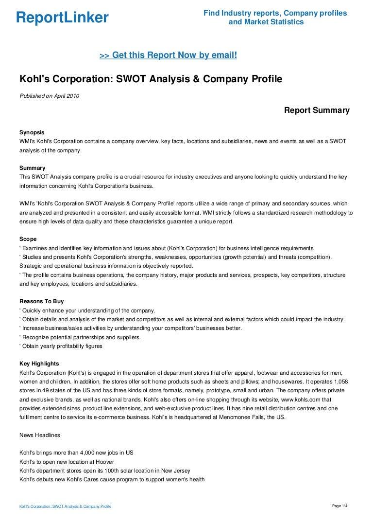 Kohl\'s Corporation: SWOT Analysis & Company Profile