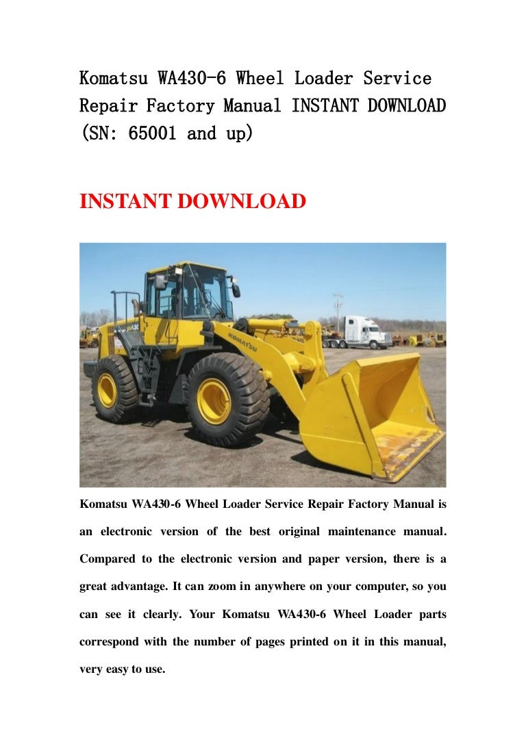 Komatsu Wa430 6 Wheel Loader Service Repair Factory Manual
