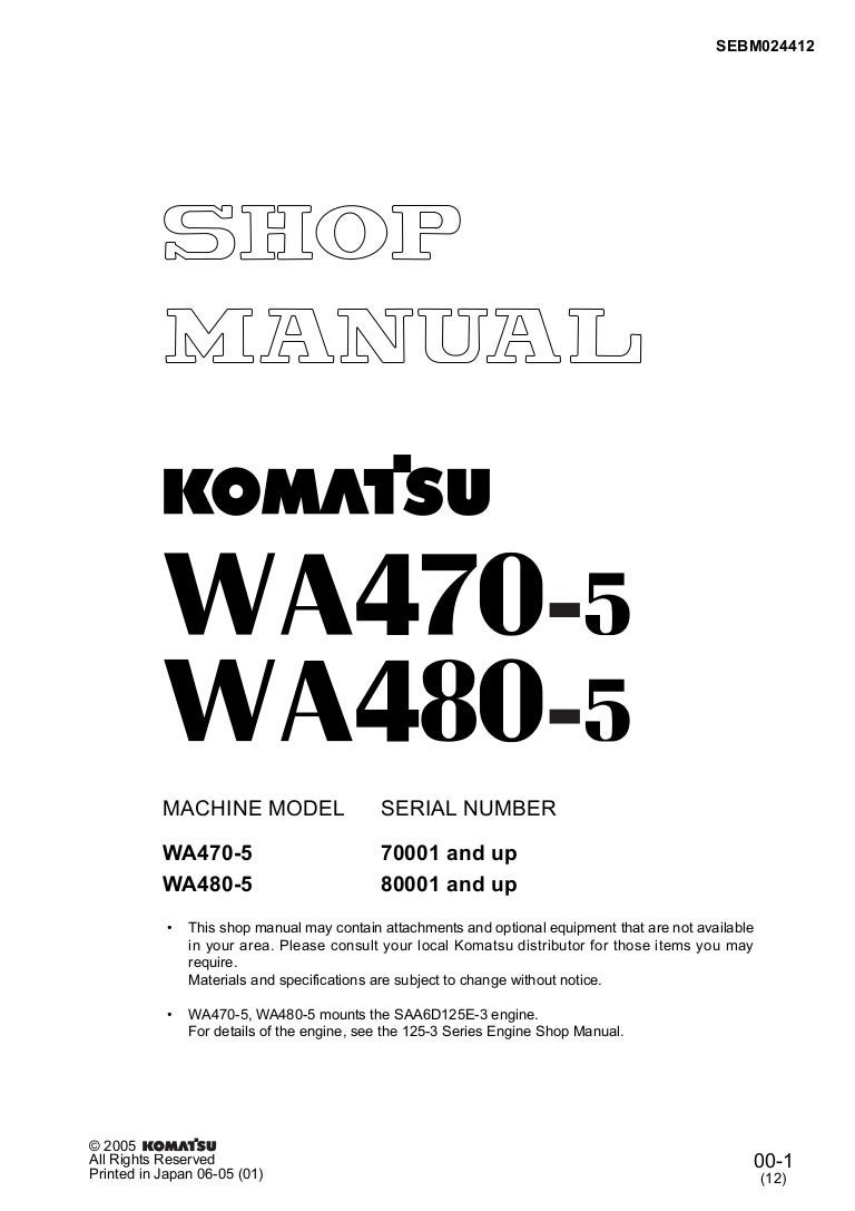 Komatsu Wa470 5 Wheel Loader Service Repair Manual Sn70001 And Up Pc 150 Wiring Diagram