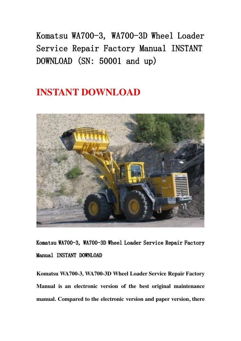 download komatsu wa700 3l wa 700 avance wheel loader service repair workshop manual