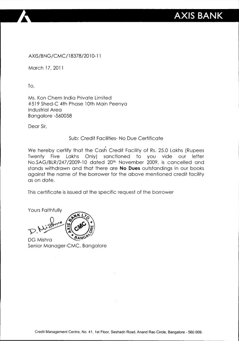 kon chem india no due certificate