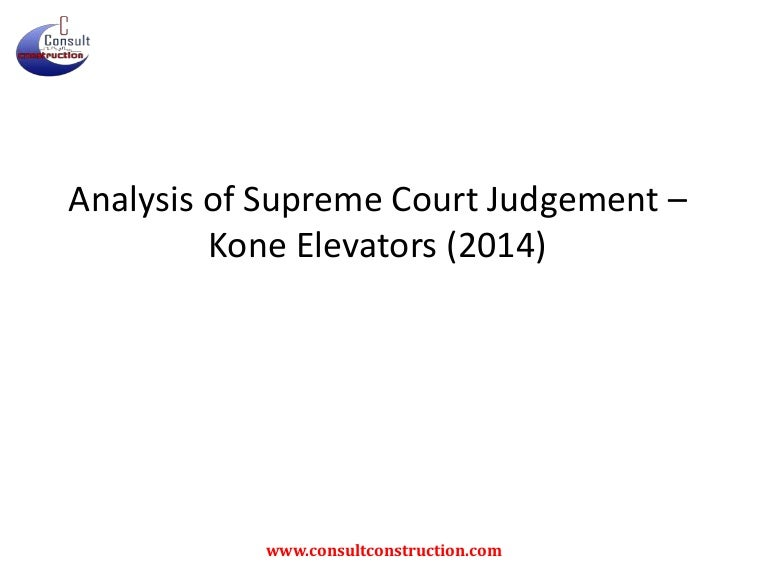 Analysis of Kone elevators judgement