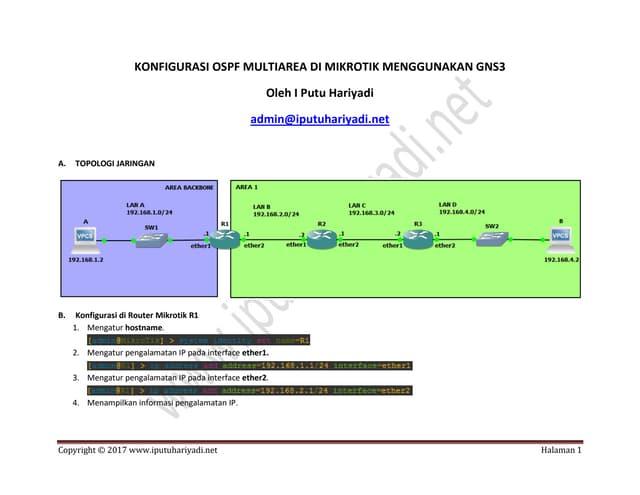 Konfigurasi OSPF Multiarea di MikroTik menggunakan GNS3