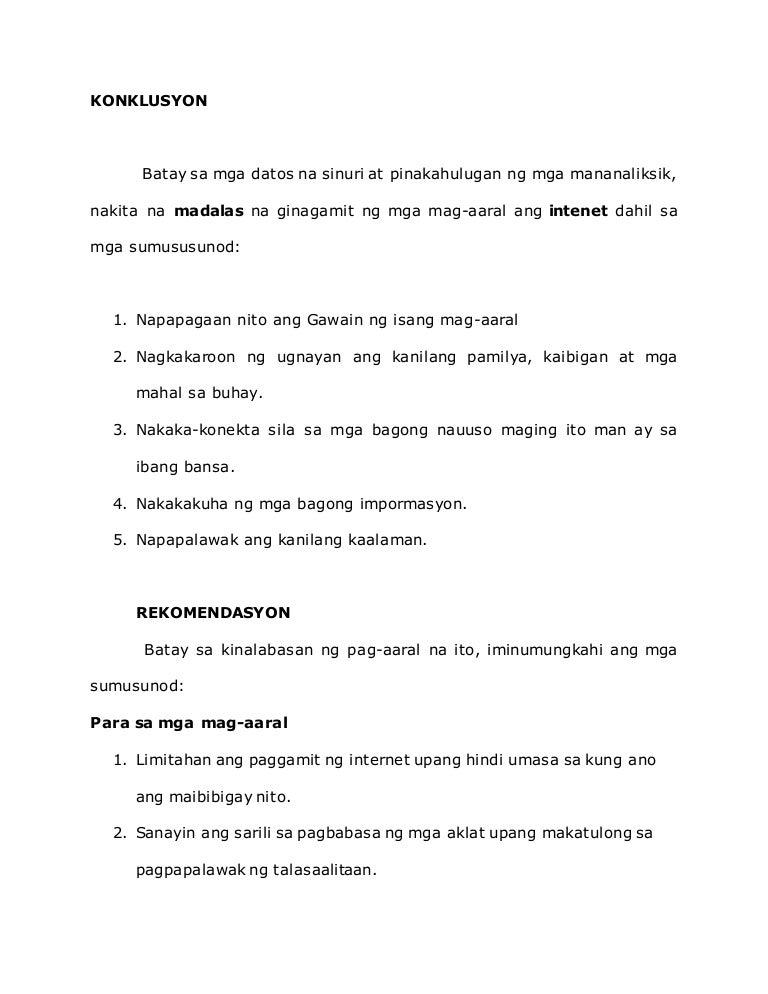 konklusyon sa filipino thesis