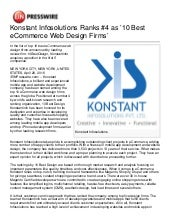 Konstant Infosolutions Ranks 4 as 10 Best eCommerce Web Design Firms'