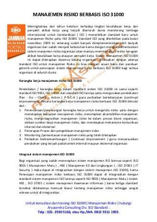 Konsultan ISO 31000 - MANAJEMEN RISIKO - BERPENGALAMAN & BERGARANSI - HP. 0812 9311 1959