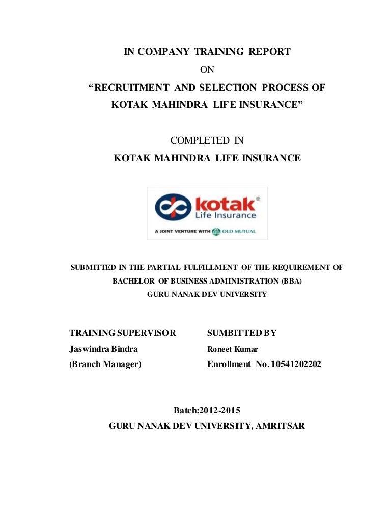 Kotak mahindra life insurance project report on ...