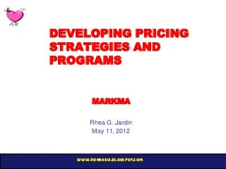 Kotler Chapter 14 Developing Pricing Strategies and Programs