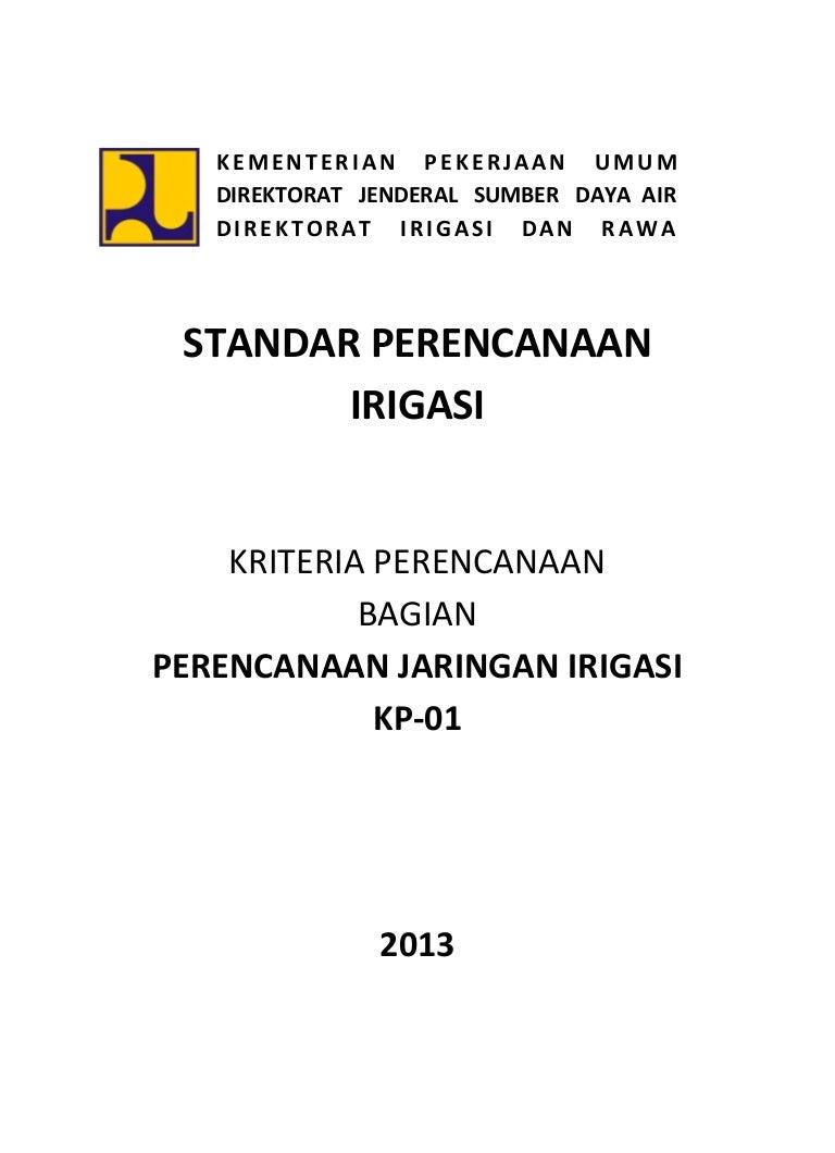 Kriteria Perencanaan KP 01 Jaringan Irigasi Tahun 2013