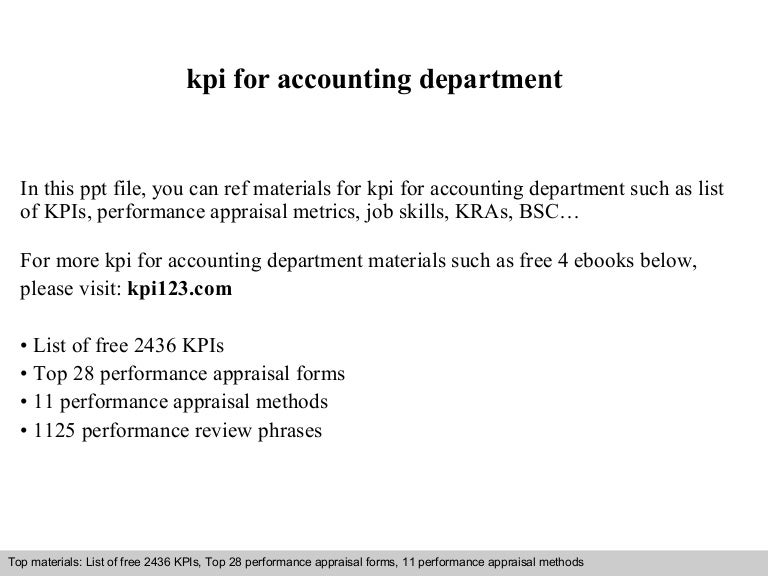 kpi for accounting department
