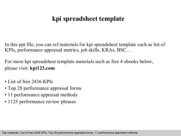 Kpi spreadsheet template