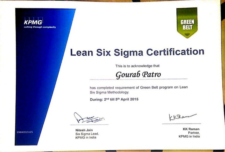 Kpmg Six Sigma Green Belt Certificate