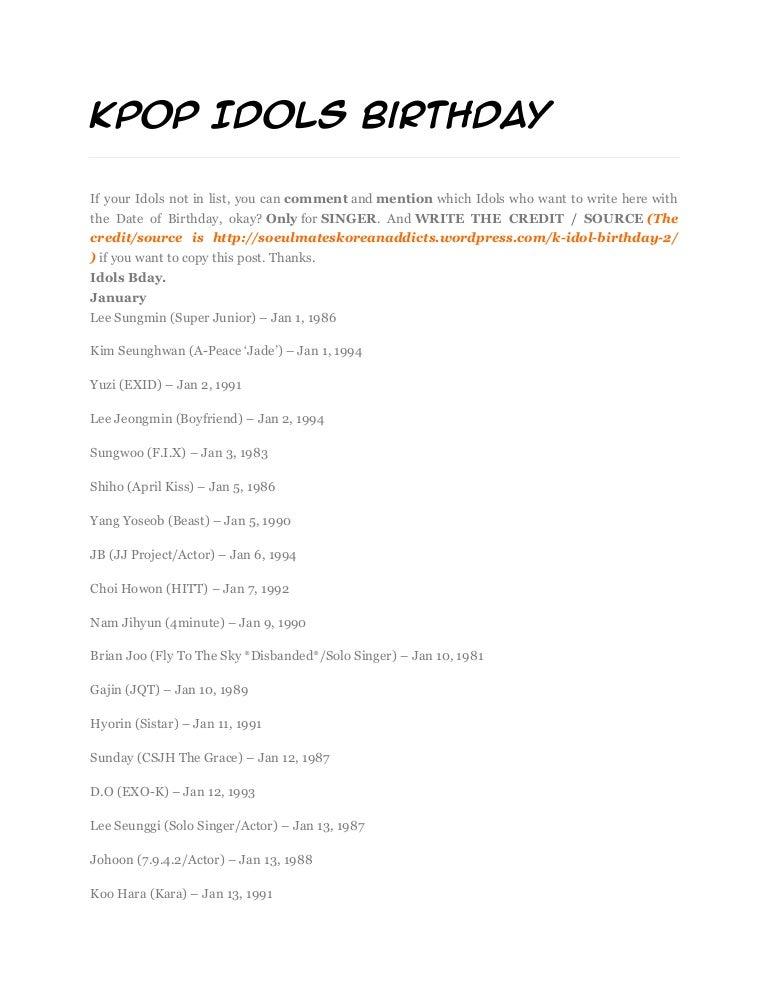 Kpop Idols Birthday