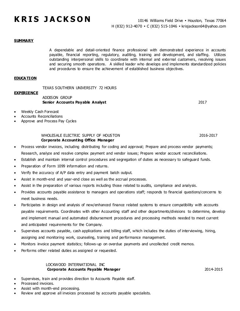 Kris jackson resume