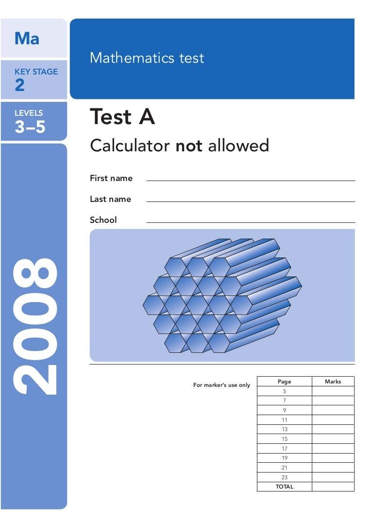 Ks2 2008 Maths Test A No Calculator