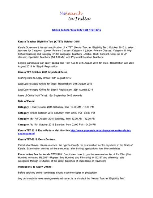 K-TET Kerala Teacher Eligibility Test 2015 Application, Dates