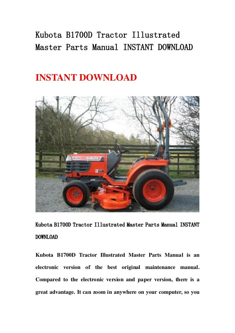 Kubota B1700 D Tractor Illustrated Master Parts Manual Instant Downlo Kobelco Loader Wiring Diagram