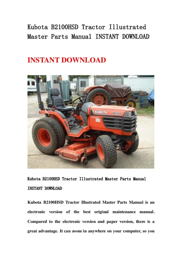 kubota b2100 hsd tractor illustrated master parts manual instant down rh slideshare net