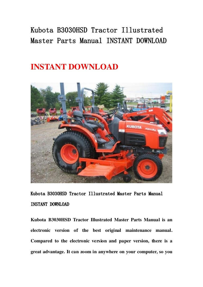 Kubota B3030 Hsd Tractor Illustrated Master Parts Manual