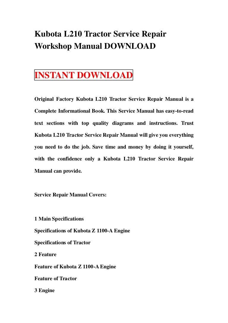 Kubota L210 Tractor Service Repair Workshop Manual Download Wiring Diagram Online Kubotal210tractorservicerepairworkshopmanualdownload 130125195136 Phpapp01 Thumbnail 4cb1359143535
