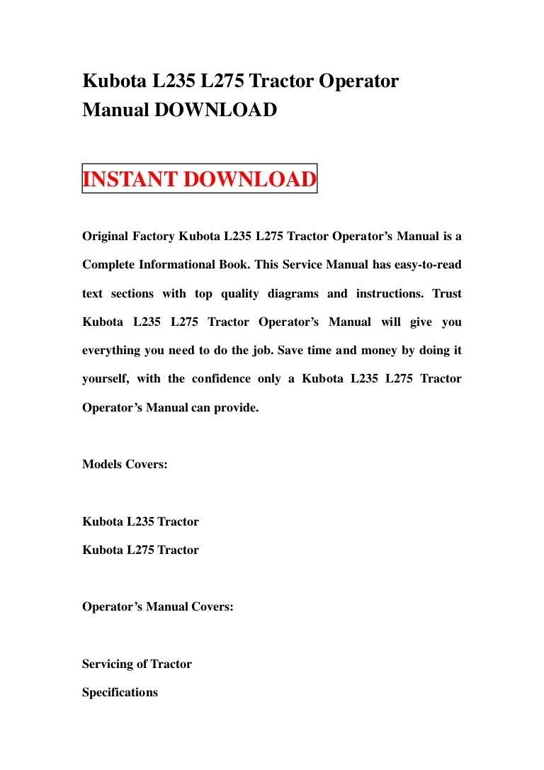 Kubota l235 l275 tractor operator manual download – Kubota L2950 Wiring Schematic