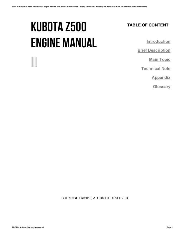 Kubota z500 engine manual