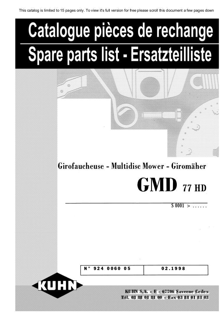 kuhn gmd 77 hd select multidisc mower cut rh slideshare net Kuhn Hay  Tedders Parts Kuhn Parts Online