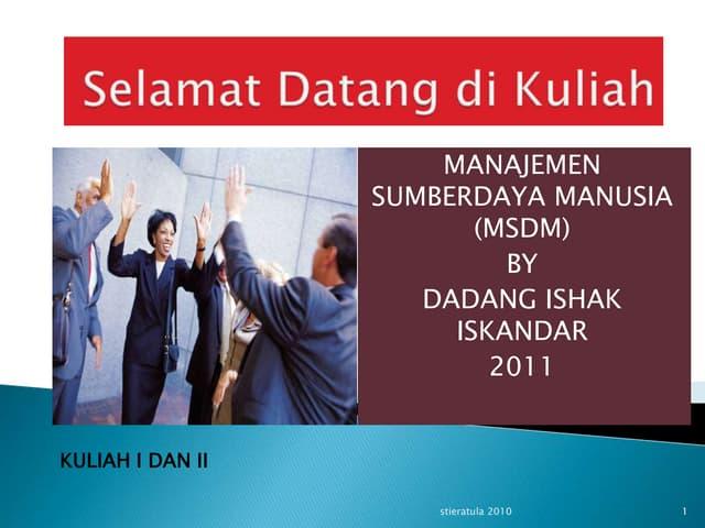 Kuliah i ii msdm - introduction