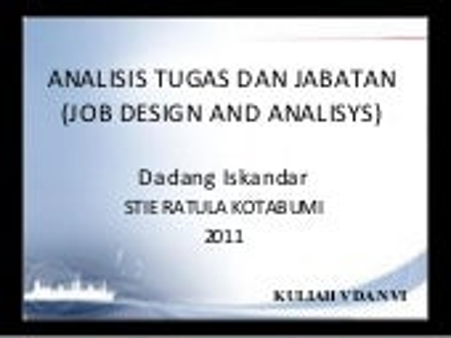 Kuliah v vi msdm - job analisys