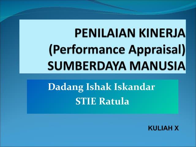 Kuliah X : Performance Appraisal