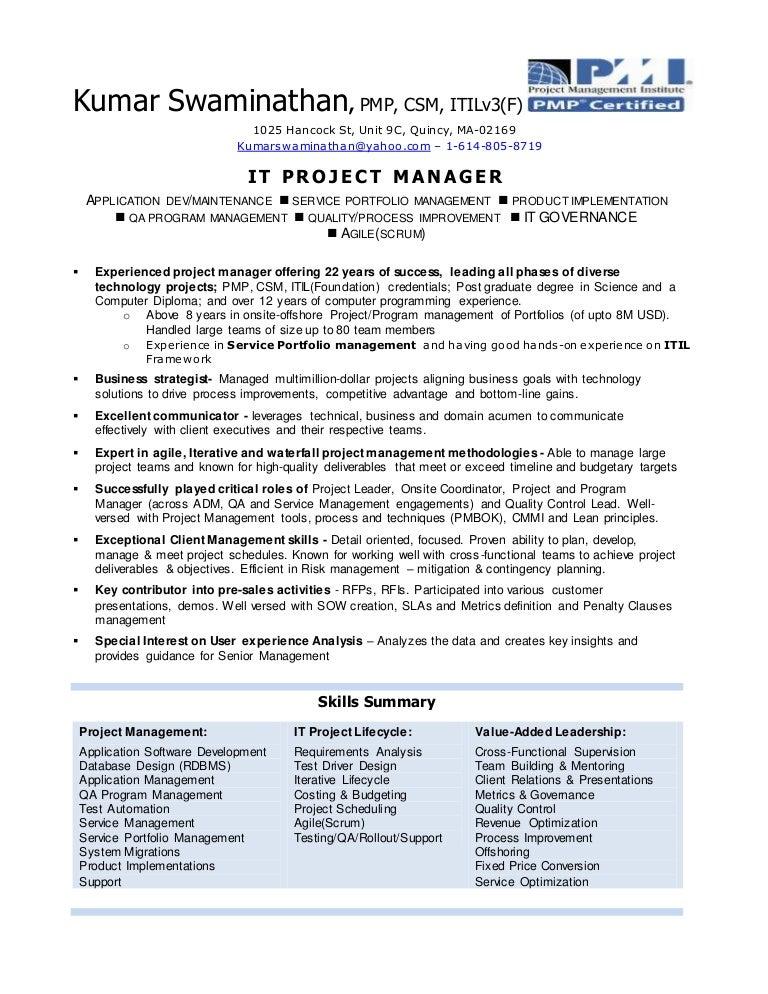 Kumar swaminathan resume -pmp-csm-itil