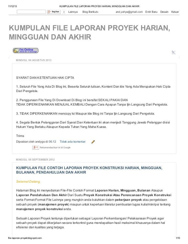 Kumpulan File Laporan Proyek Harian Mingguan Dan Akhir Di Http Fil