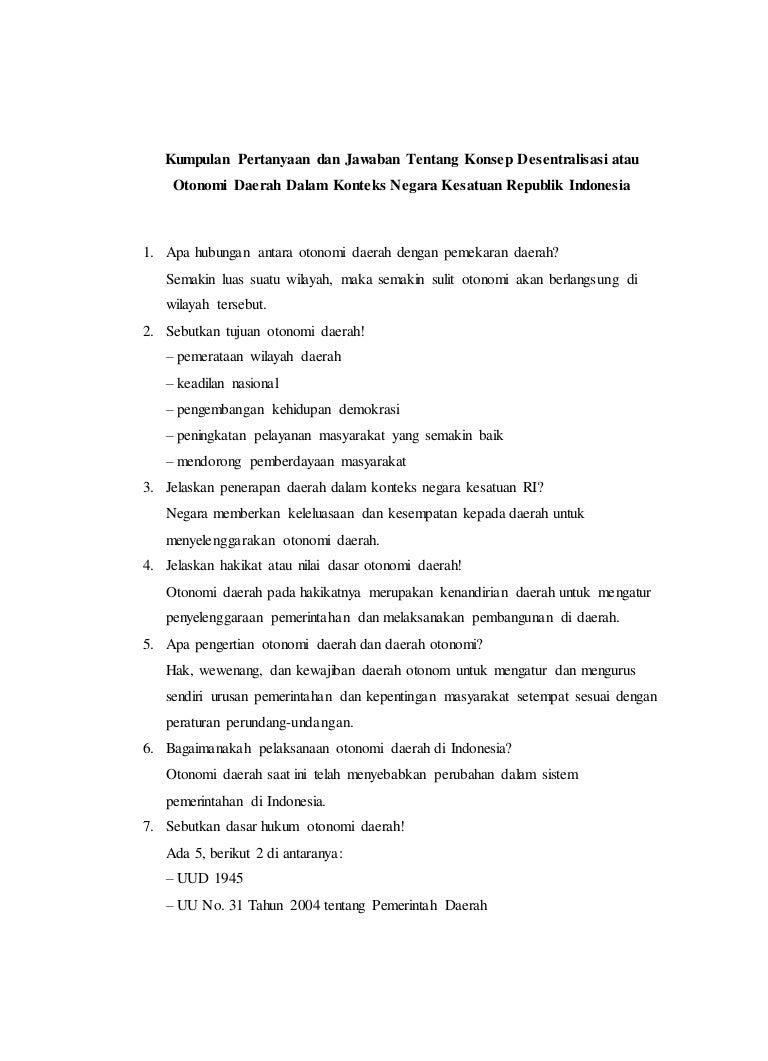 Kumpulan Pertanyaan Otonomi