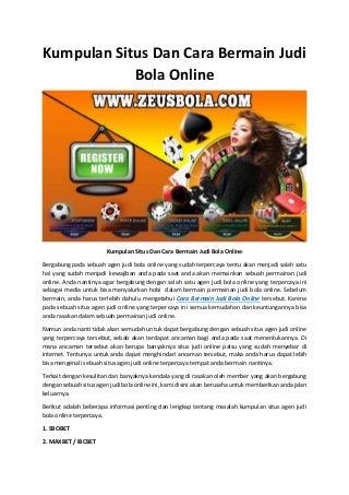 Kumpulan situs dan cara bermain judi bola online