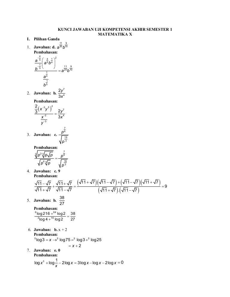Pembahasan Soal Matematika Kelas 10 Semester 1
