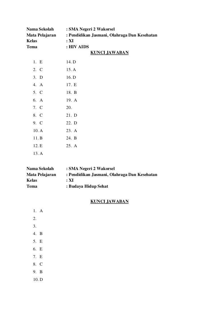 Kunci Jawaban Lks Penjas Kelas 10 Semester 1 Kurikulum 2013 Revisi Sekolah