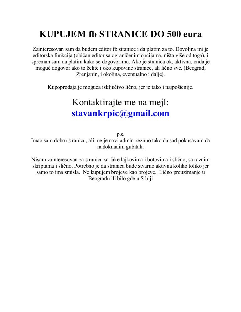 Kupujem Prodajem Facebook Stranice Do 500 Eura