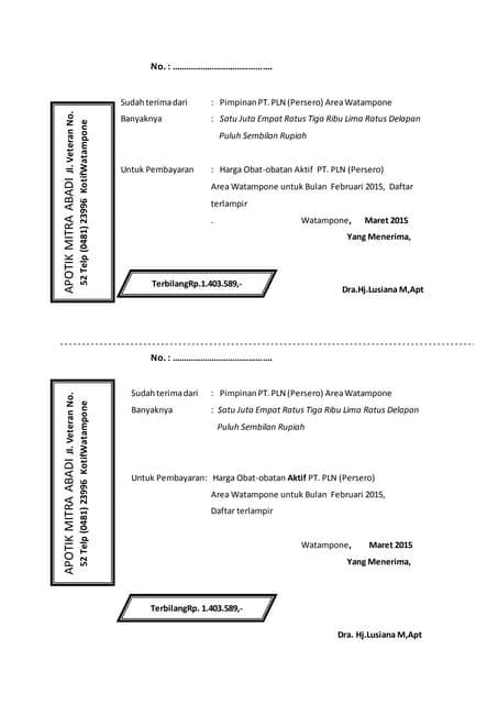 Contoh Surat Keterangan Dokter Dan Kwitansi Periksa