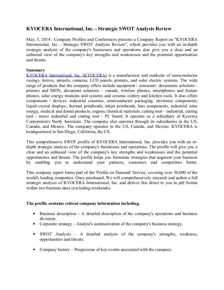 Kyocera International Inc Strategic Swot Analysis Review
