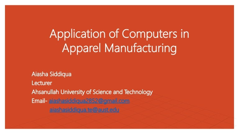 Application Area Of Computer Technology In Apparel Manufacturing
