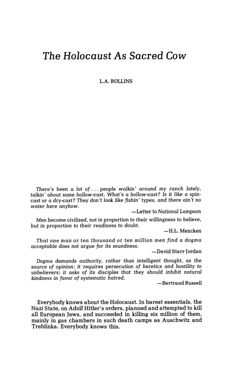 l a rollins the holocaust as sacred cow journal of historical