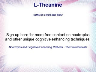 L-Theanine - Nootropic to Compliment Caffeine