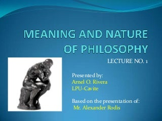 Lecture 1 Introduction to Philosophy