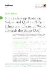 Leadership on values
