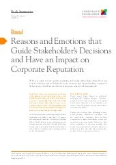 Reasons and Emotions that Guide Stakeholder's Decisions and Have an Impact on Corporate Reputation