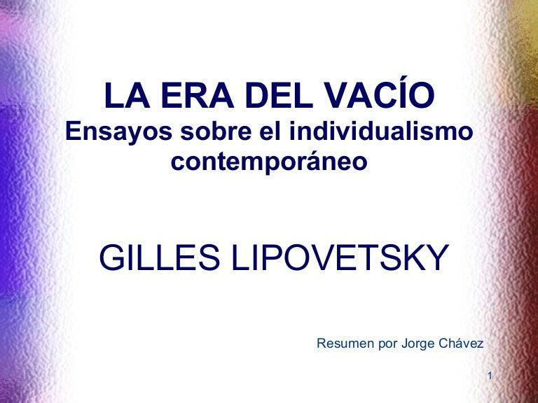 Gilles Lipovetsky La Era Del Vacio Pdf