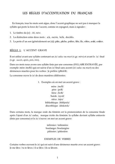 La acentuación francesa en 4 paginas / L´accentuation française en 4 pages / The French accentuation in 4 pages